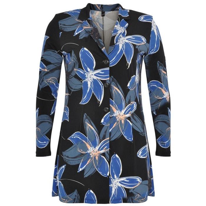 veste blazer imprim e fleuri noir bleu yoek la redoute. Black Bedroom Furniture Sets. Home Design Ideas