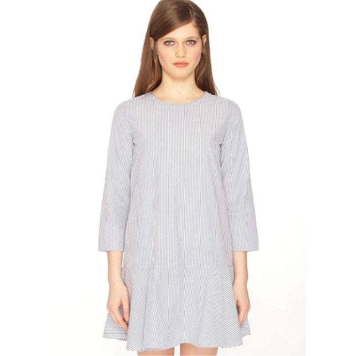 Striped Dress with Peplum Hem  PEPALOVES image 0