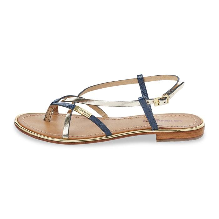leren sandalen met teenstukje monaco goudkleur blauw les tropeziennes par m belarbi la redoute. Black Bedroom Furniture Sets. Home Design Ideas