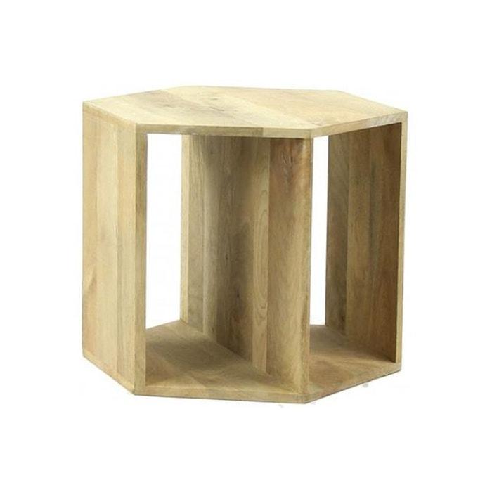 table basse hexagonale pomax en bois de manguier 50x50x40. Black Bedroom Furniture Sets. Home Design Ideas