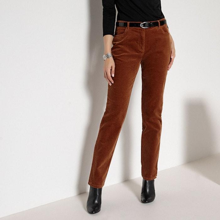Pantalon velours stretch marron Anne Weyburn   La Redoute 1d8c6dbd5d1