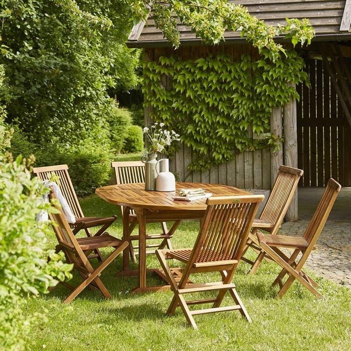 Salon de jardin en bois de teck 6 à 8 places teck huilé Bois Dessus ...