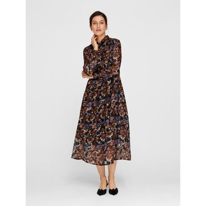 3f089f88751e0 Robe-chemise mi-longue imprimé fleuri black Yas   La Redoute