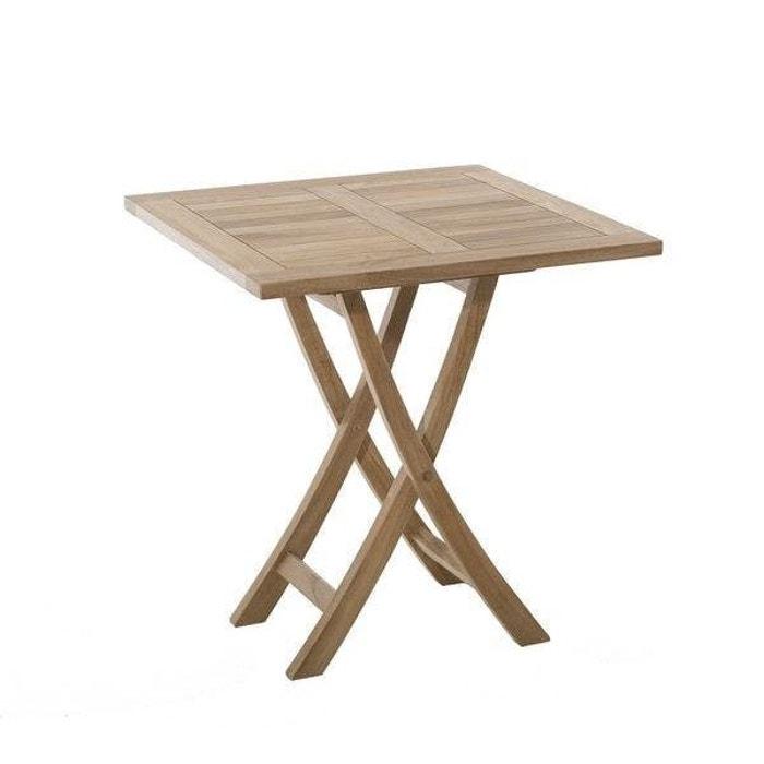 Table de jardin en teck brut carrée pliante 70cm summer table bois ...