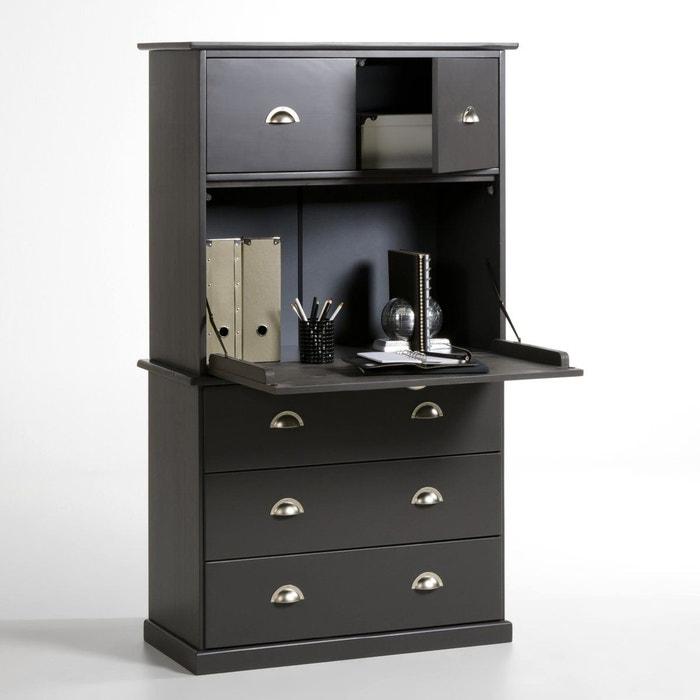 secr taire biblioth que pin massif betta gris la redoute. Black Bedroom Furniture Sets. Home Design Ideas