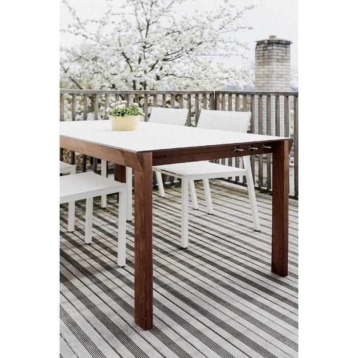 Salon de jardin egoe table desa rectangle et 4 chaises cora blanches ...