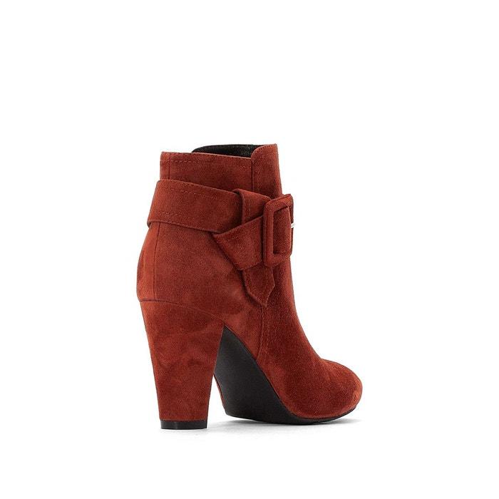 Boots cuir talon haut, boucle fantaisie