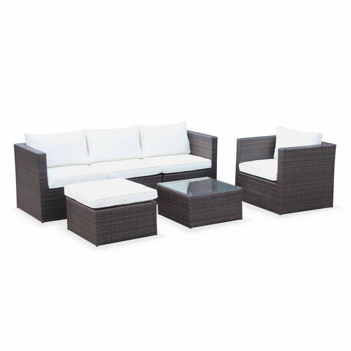 Salon de jardin table en résine tressée 5 places Benito canapé fauteuil