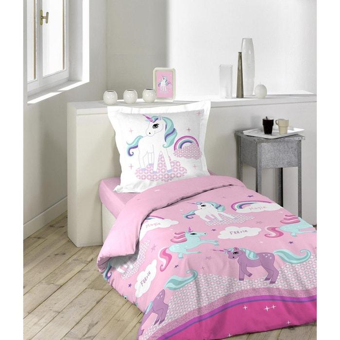 parure de couette 2 pi ces 140x200 licorne blanc rose douceur d interieur la redoute. Black Bedroom Furniture Sets. Home Design Ideas