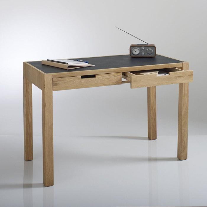 Bureau plateau aspect cuir 2 tiroirs watford bois clair - Plateau bois pour bureau ...