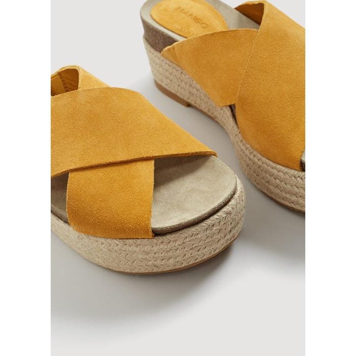 Sandales plateforme cuir moutarde Mango
