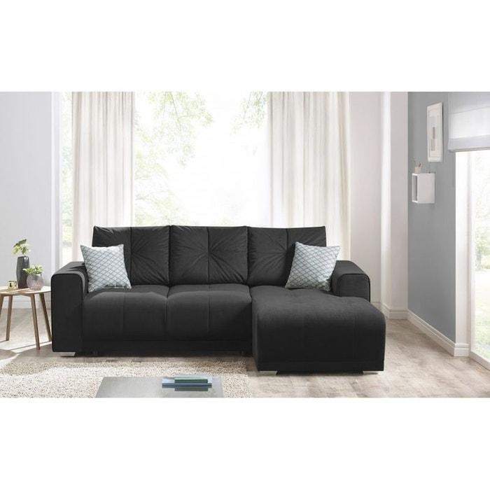 canape d 39 angle convertible lisbona droit 2 pts coussins deco offerts trinity toucher velours. Black Bedroom Furniture Sets. Home Design Ideas