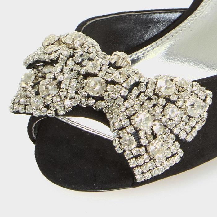 Sandales à talon bobine avec n-ud - majestie noir daim Dune London