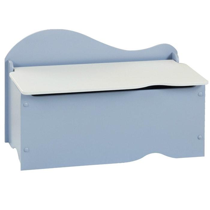 Banc et coffre de rangement en bois bleu et blanc bleu delta la redoute - Coffre de rangement en bois blanc ...