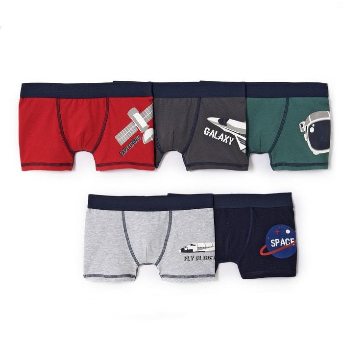 afbeelding Bedrukte boxershort space 2-12 jr (set van 5) La Redoute Collections
