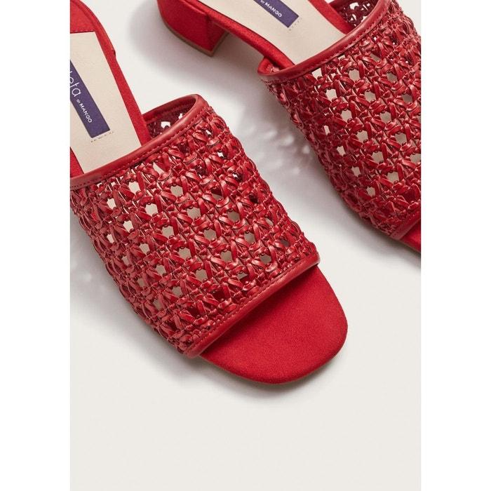 Sandales tressées rouge Violeta By Mango