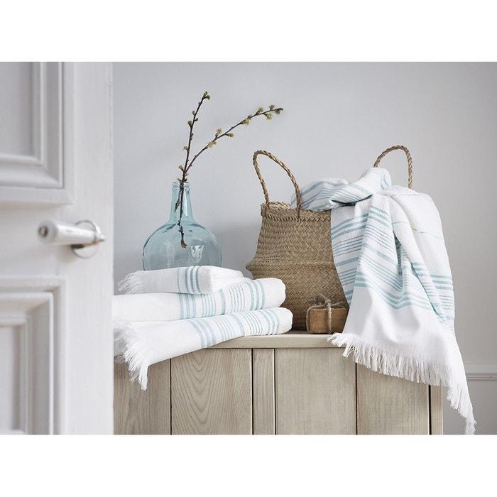 serviette de toilette bleu canard coton jacquard 300 g m bleu canard blanc cerise la redoute. Black Bedroom Furniture Sets. Home Design Ideas