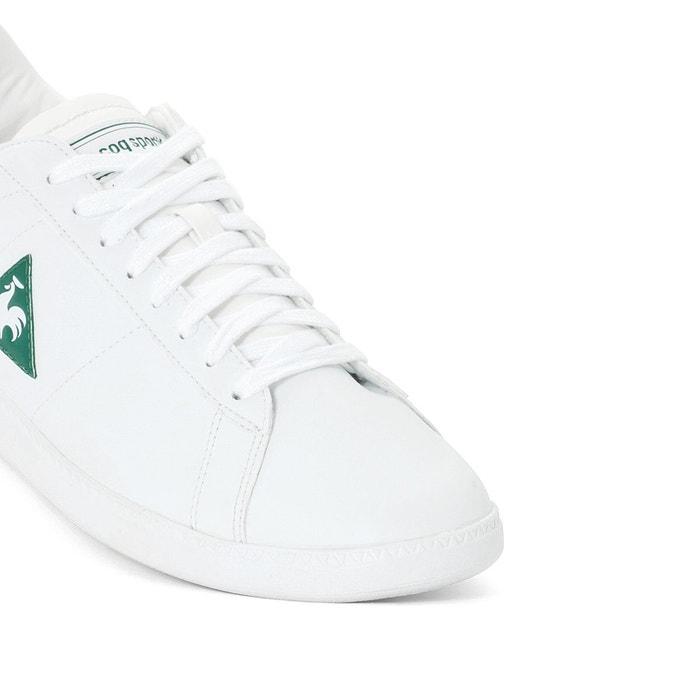 Baskets courtset s lea blanc/vert Le Coq Sportif