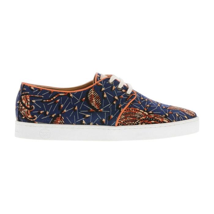 ee49e25e8890 Basket en tissu wax avec des motifs bleu et orange bleu Panafrica | La  Redoute