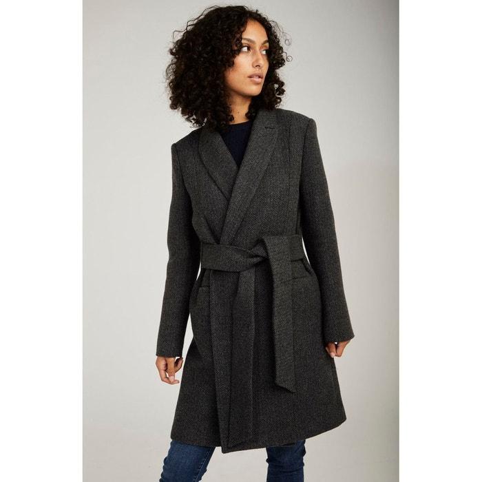 Manteau style peignoir en lainage noir hiver femme Trench
