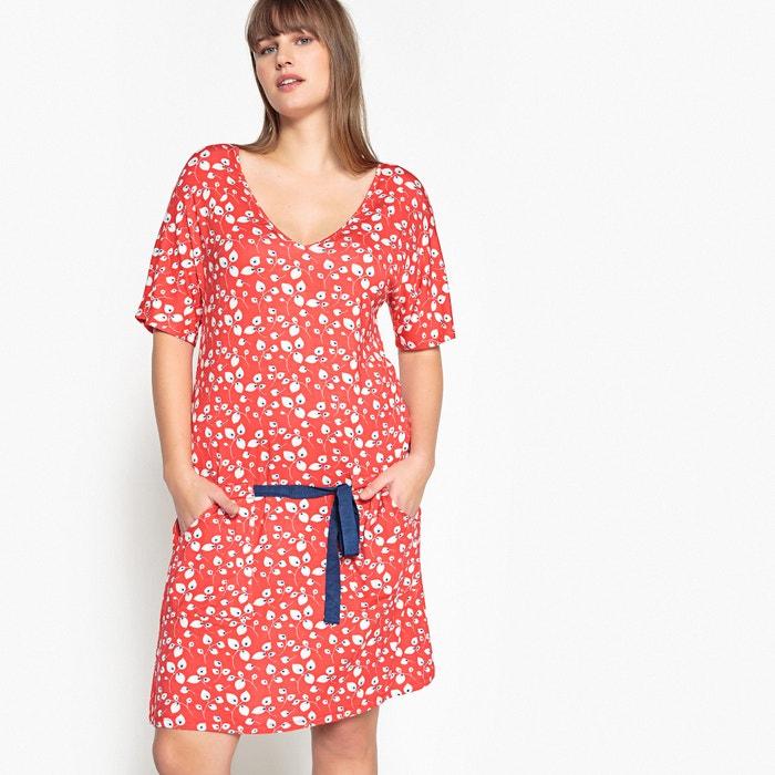 Floral Print Dress with Low Tie Waist Belt  CASTALUNA image 0
