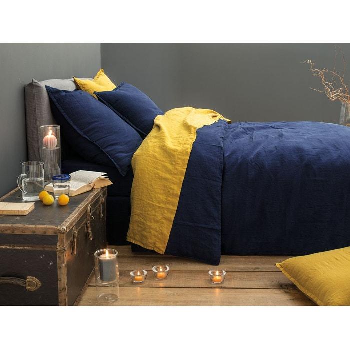 drap plat lin lav uni safran safran blanc cerise la redoute. Black Bedroom Furniture Sets. Home Design Ideas