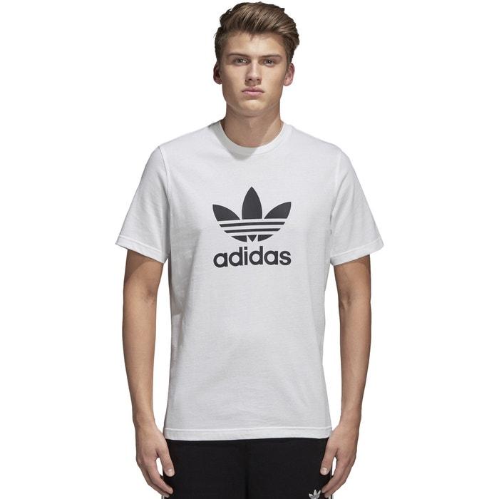 T-shirt col rond manches courtes imprimé devant Adidas Originals blanc  a087905c0b3