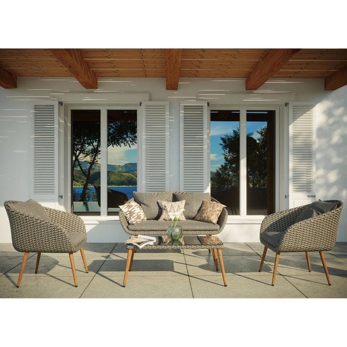 Salon de jardin rotin, résine tressée aluminium, 4 places, cosenza ...