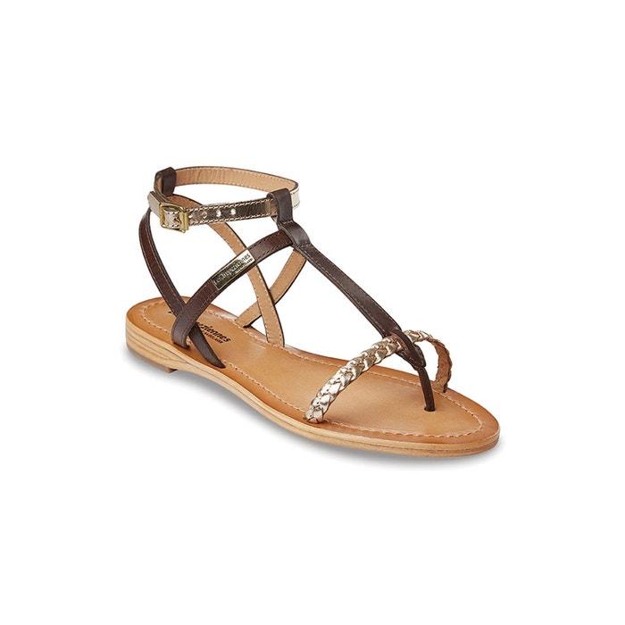 Sandales cuir hilatres marron or Les Tropeziennes Par M Belarbi