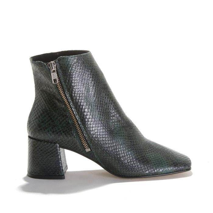 Boots de motard cuir 2 boucles femme gris Jonak : un large
