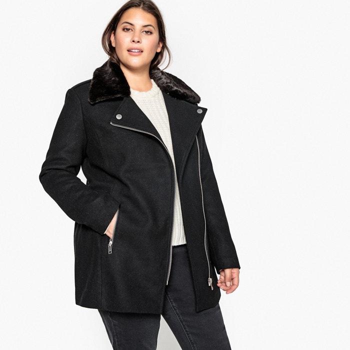 c3c28cd80bf Faux fur collar wool blend coat Castaluna Plus Size