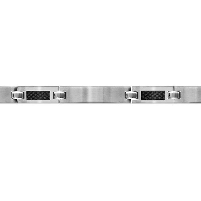 Bracelet longueur réglable: 19 à 20,5 cm plaques lisses carbone acier inoxydable couleur unique So Chic Bijoux | La Redoute