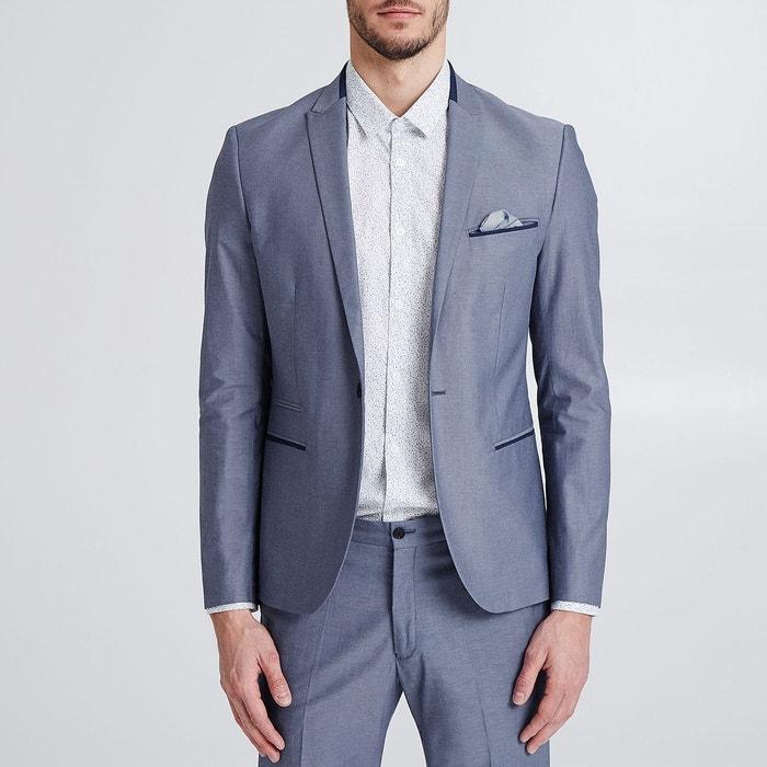 2824e38891208 Veste de costume slim effet denim bleu grise Jules | La Redoute