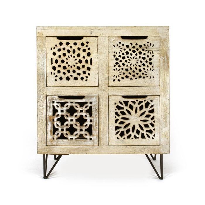 commode en manguier blanchi 4 tiroirs design ethnique b. Black Bedroom Furniture Sets. Home Design Ideas