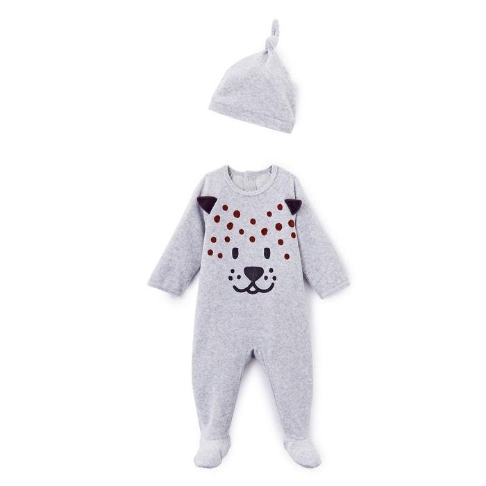 3979f035d345 Pyjama velours imprimé + bonnet 0 mois - 3 ans gris chiné La Redoute  Collections   La Redoute