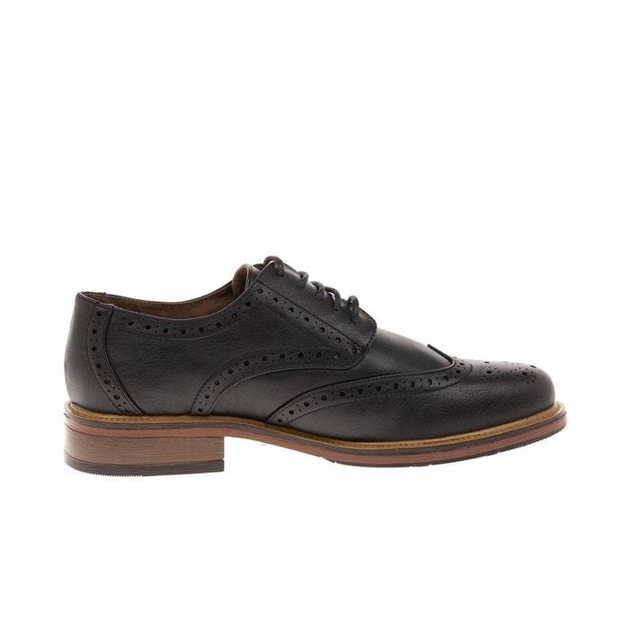 Brogue talon carré chaussures noir Ts Heritage