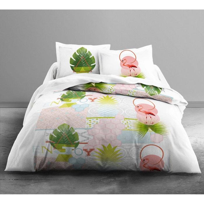 parure de couette 100 coton 57 fils 220x240 puerto rico fonds blanc today la redoute. Black Bedroom Furniture Sets. Home Design Ideas