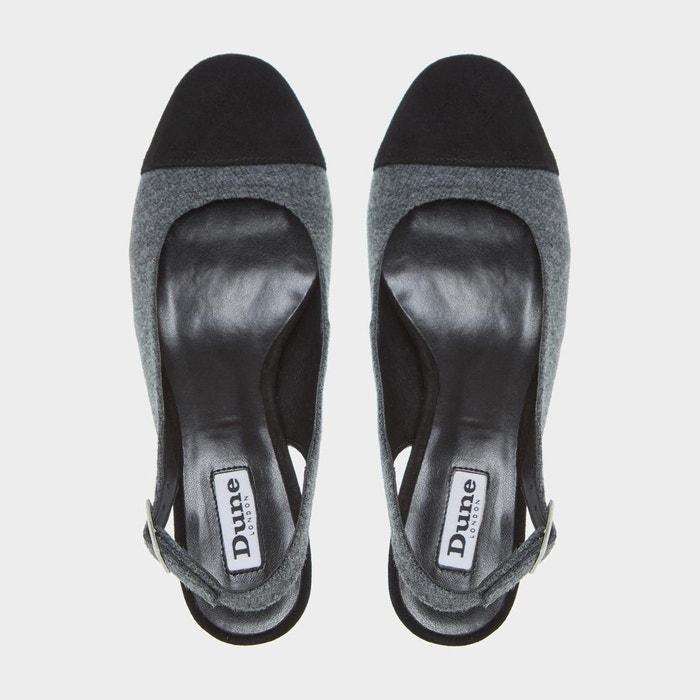 Escarpins à bride arrière et talons carrés - codey gris fabric Dune London