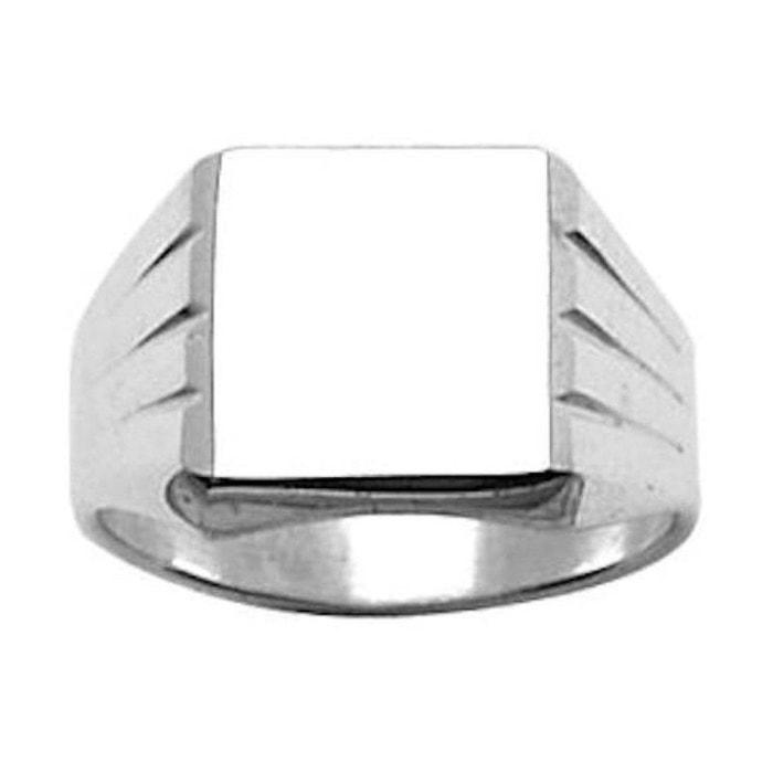 Chevalière bague anneau carré côtés rainurés argent 925 couleur unique So Chic Bijoux | La Redoute Pré Commande En Ligne H9n1AcQ