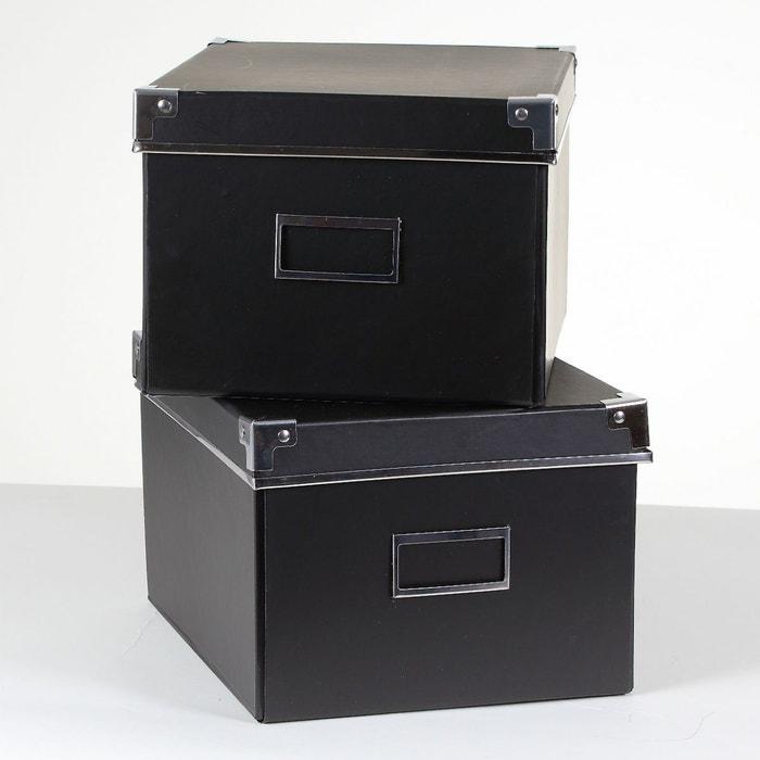 Lot de 2 bo tes carton noir m tal noir casame la redoute for Boite a couture la redoute