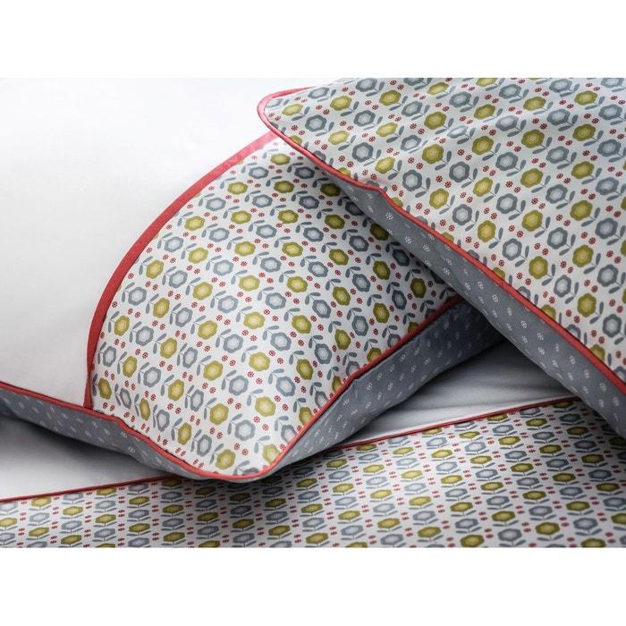 taie d 39 oreiller rectangulaire imprim e percale 80 fils cm passepoil coquelicot blanc gris. Black Bedroom Furniture Sets. Home Design Ideas
