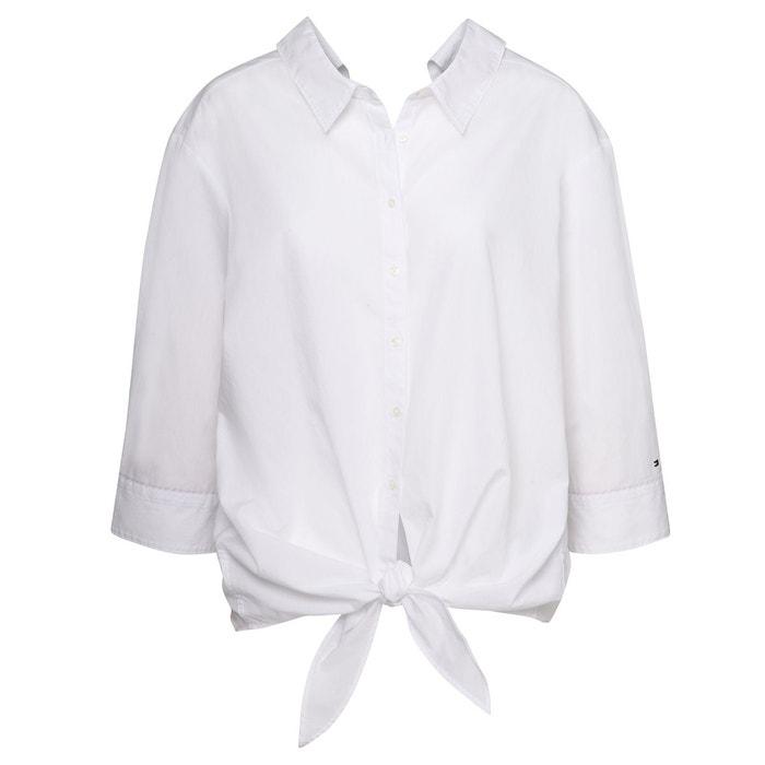 Chemise fendue à col fantaisie, manches 3 4 blanc Tommy Hilfiger   La  Redoute dfa07e60fe9b