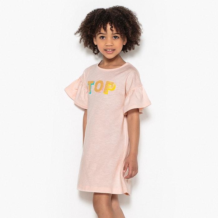 """Vestido con estampado purpurina """"TOP"""" 3-12 años  La Redoute Collections image 0"""