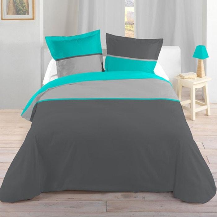Parure de lit 140 x 200 cm gris et turquoise couleur unique storex la red - La redoute parure de lit ...