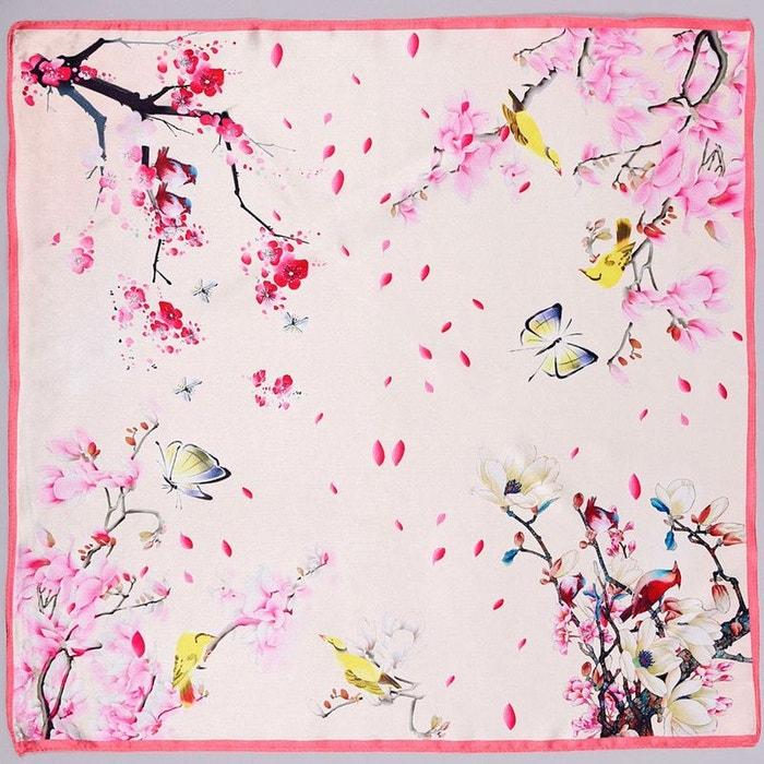 carr de soie piccolo naturosa rose allee du foulard la redoute. Black Bedroom Furniture Sets. Home Design Ideas