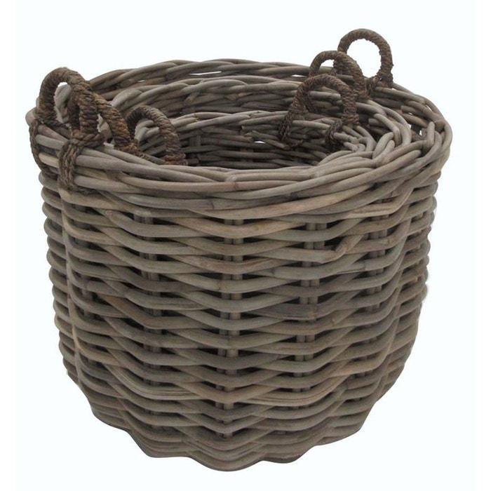 cache pot ronds en poelet gris lot de 3 naturel aubry gaspard la redoute. Black Bedroom Furniture Sets. Home Design Ideas