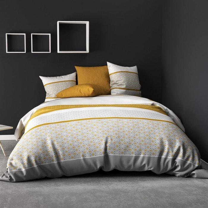 parure de lit 4 pi ces bonus moutarde 100 coton 57 fils 2. Black Bedroom Furniture Sets. Home Design Ideas