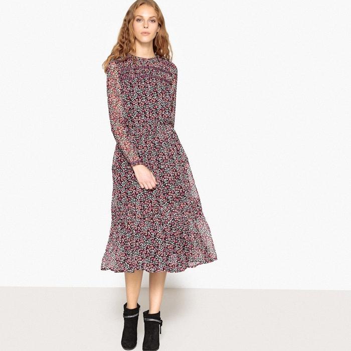Платье с цветочным принтом и вышивкой на манжетах и спинке