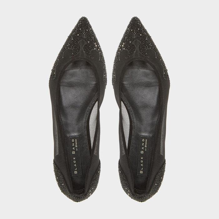 Chaussures à enfiler black sand ornées de strass avec bout pointu - bijou noir velours Dune London