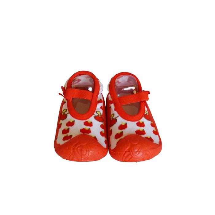 c8a45b2a6e439 Chaussons-chaussettes antidérapants taille basse cerises rouge C2bb ...